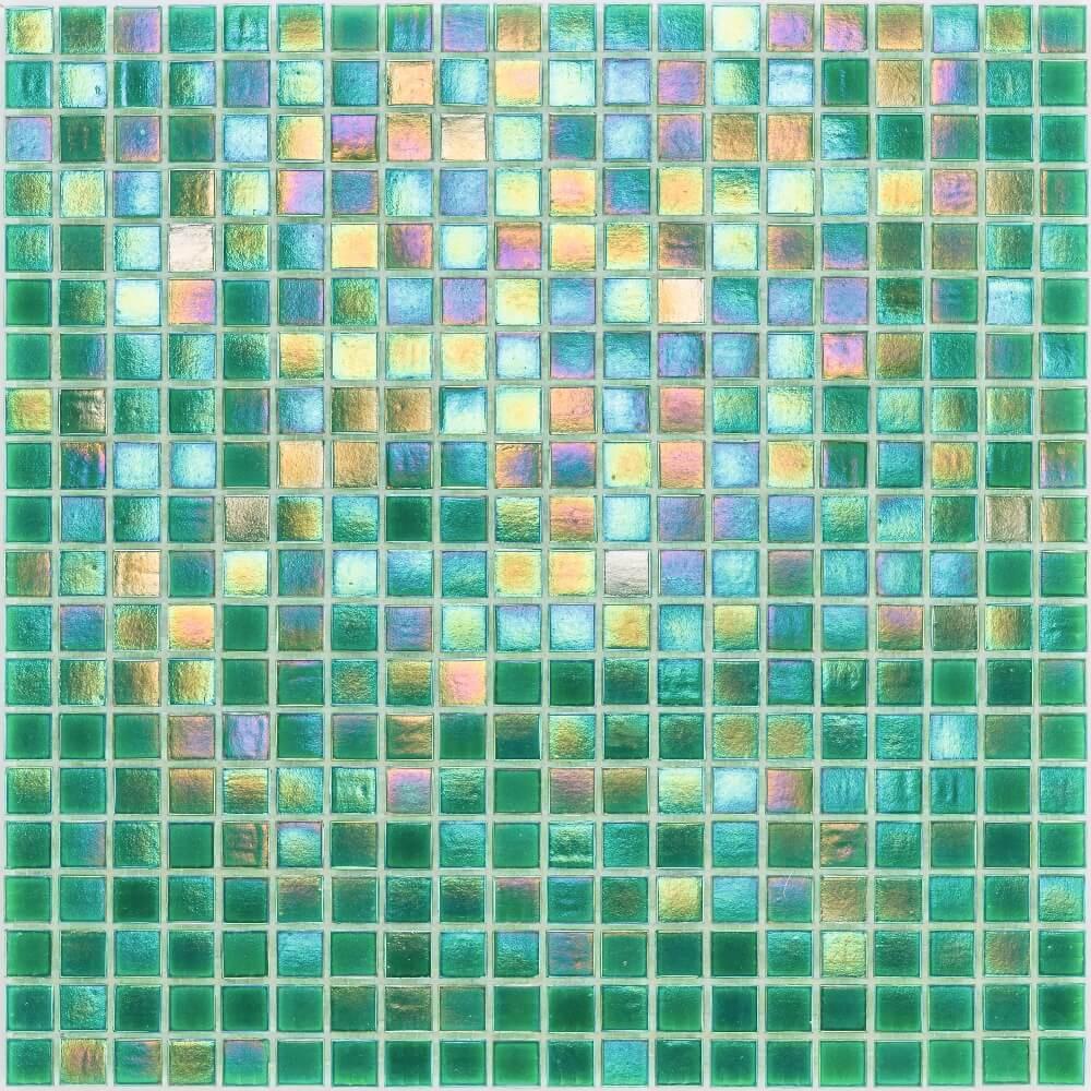 Glasmosaikfliesen Perlmutt Grün Glänzend für die Wand 32,7 x 32,7 cm - Interio
