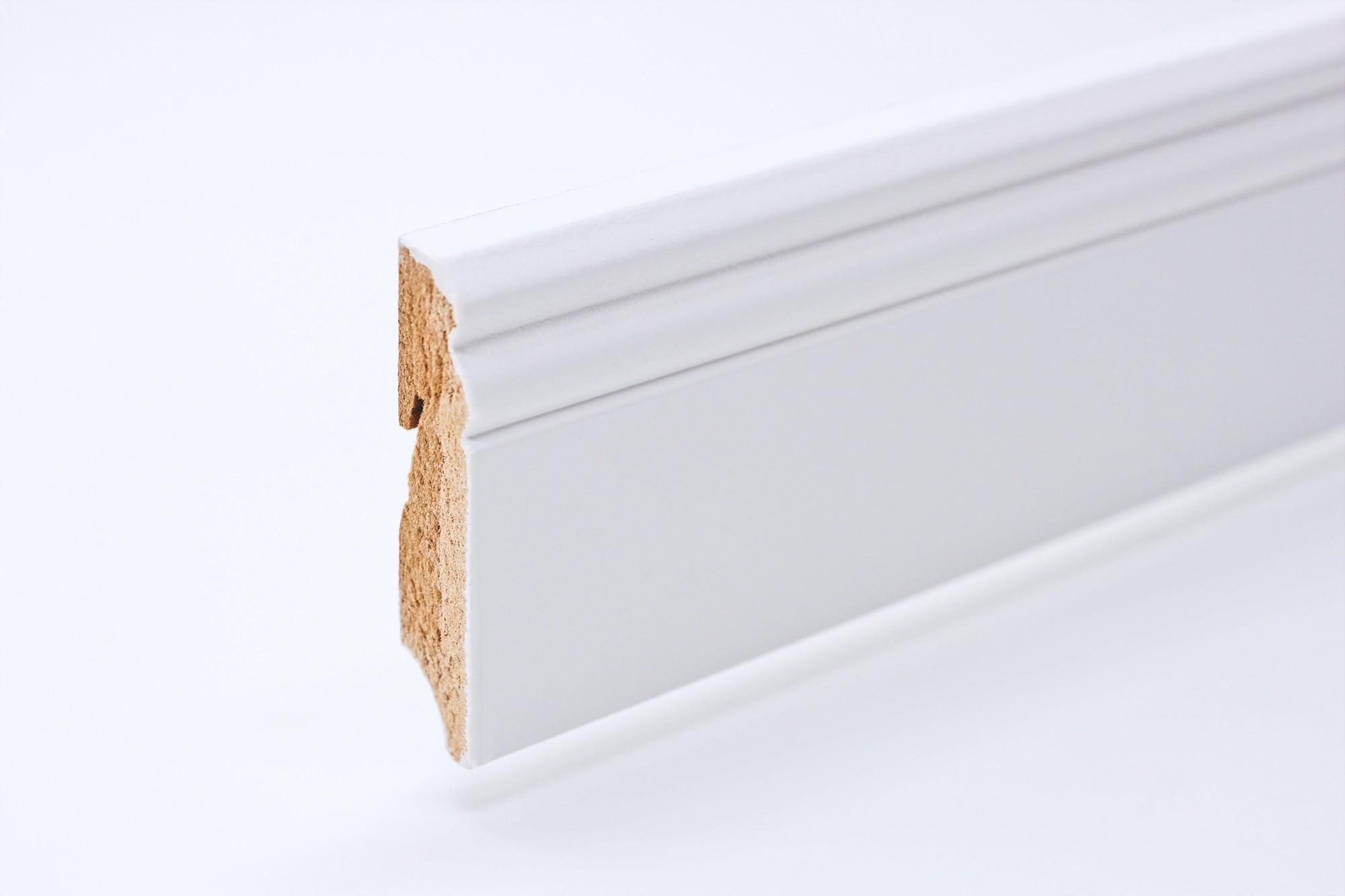 Sockelleiste (2400 x 18 x 80) Altdeutsch weiß lackiert - Interio