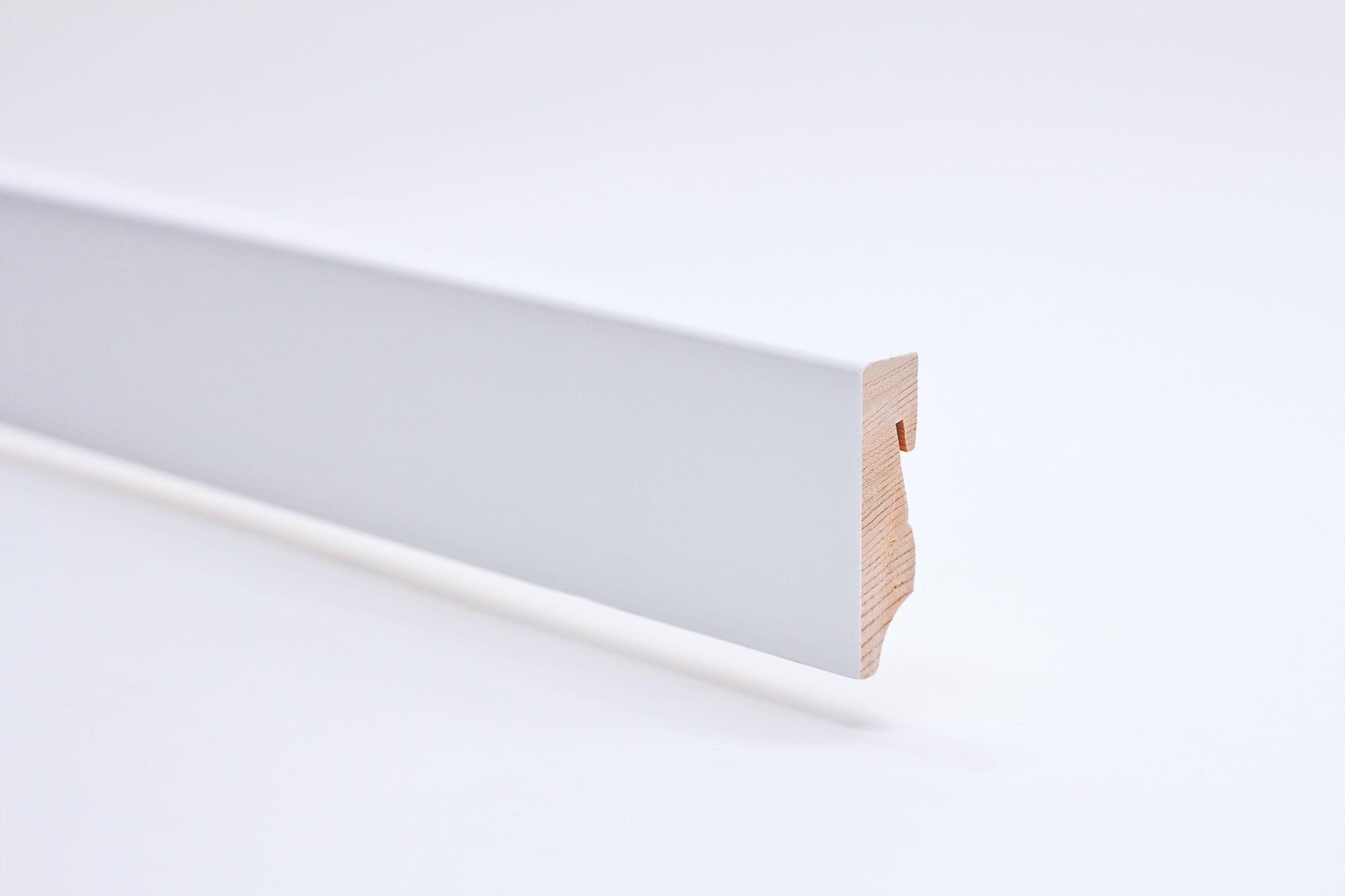 Sockelleiste (2400 x 16 x 58) eckig mit Rundung weiß lackiert Massivholz Profil - Interio