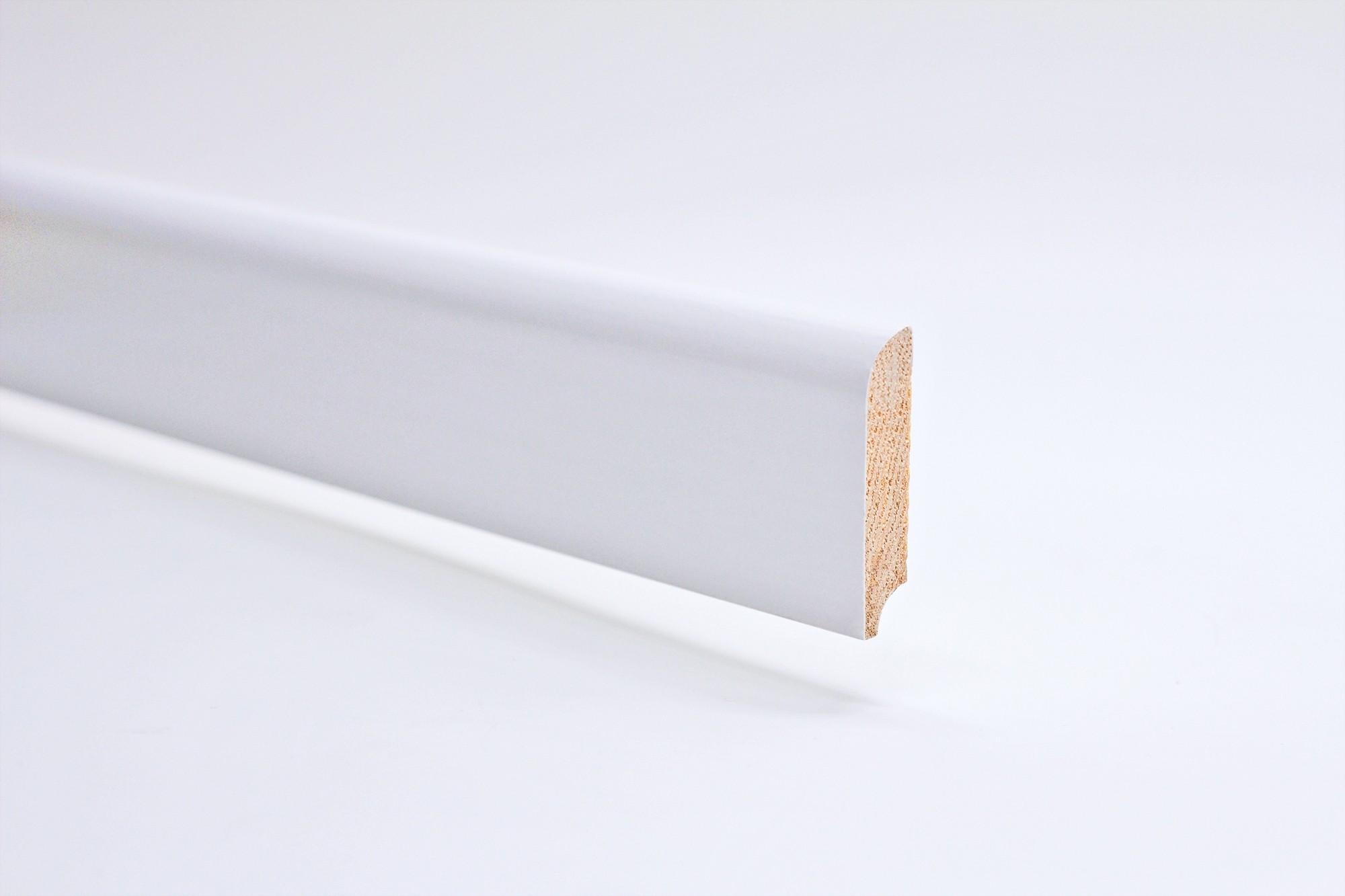 Sockelleiste (2400 x 12 x 58) abgerundet weiß lackiert Massivholz Profil - Interio