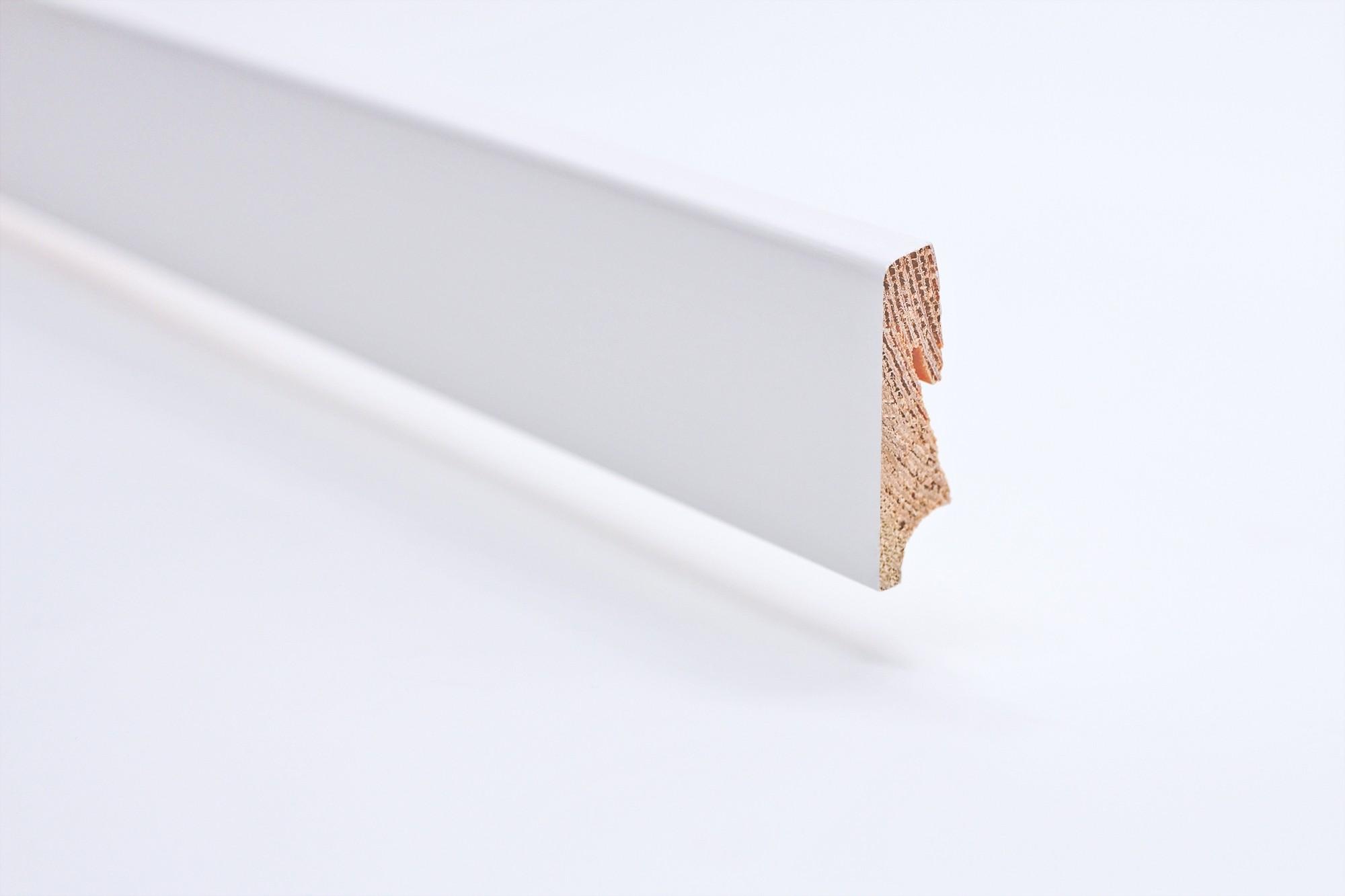 Sockelleiste (2400 x 16 x 51) konisch weiß lackiert Massivholz Profil - Interio