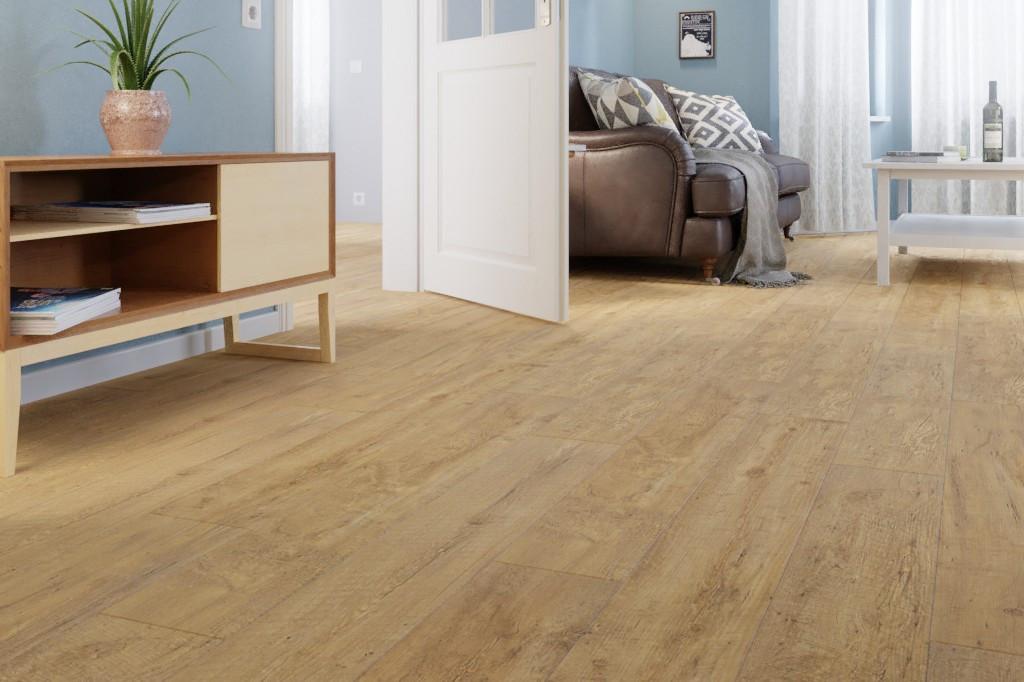 Milieubild Wohnzimmer mit Kommode und Sofa von Eiche BROWN Vinylboden StrongCORE Rigid - Interio