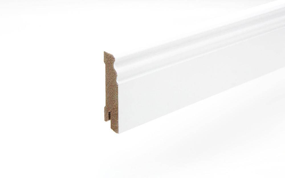 Perspektive Sockelleiste 18 x 70 x 2440 mm MDF weiß Altdeutsch 70 Clip-Nut