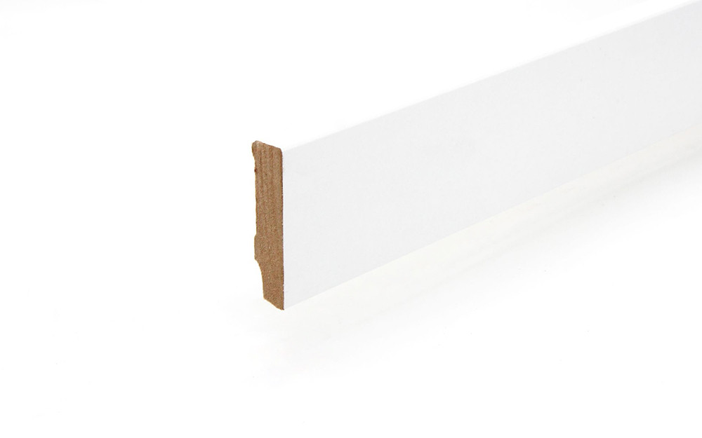 Sockelleiste 16 x 58 x 2400 mm Grundierfolie weiß gefast