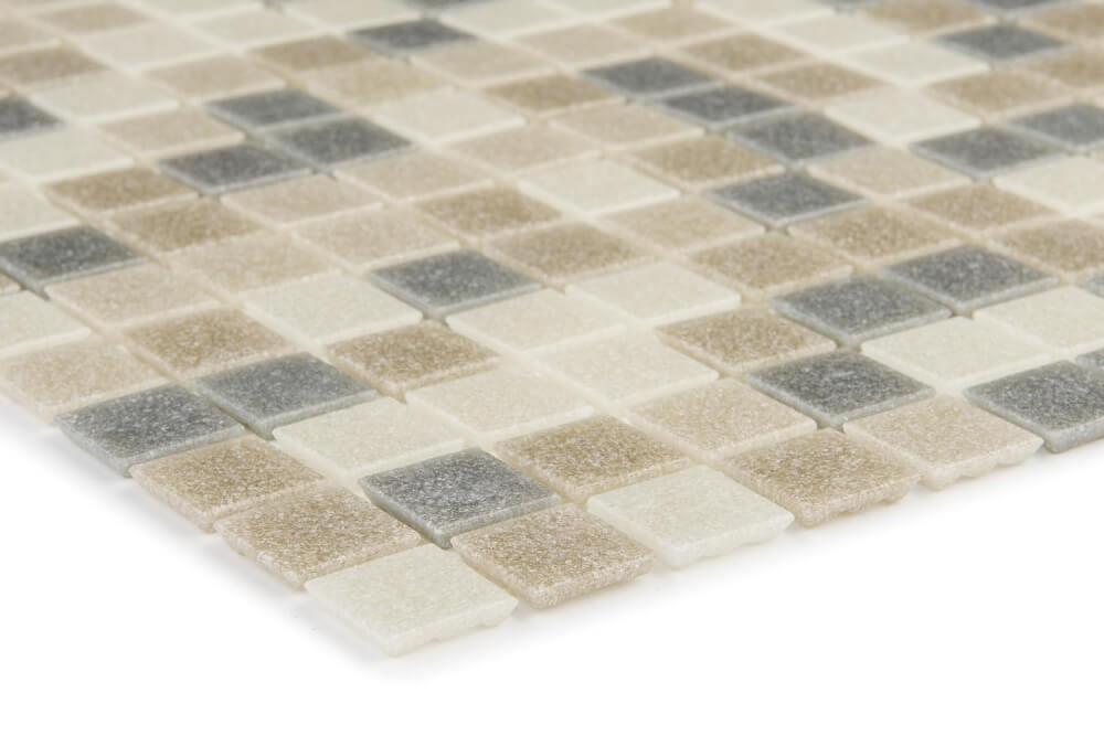 Detailansicht von Glasmosaikfliesen Grey Brown Beige Matt für die Wand 32,6 x 32,6 cm - Interio