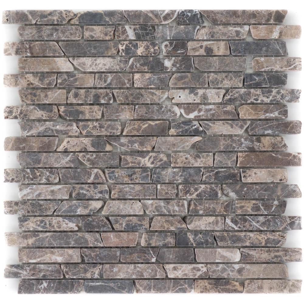 Natursteinmosaikfliesen Marron - Emperador Slimbrick Getrommelt für die Wand 30,5 x 30,5 cm - Interio