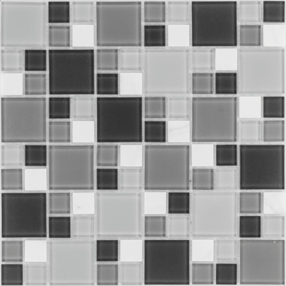 Kombimosaikfliesen Marmor Weiß - Glasmix Hellgrau Dunkelgrau Matt für die Wand 30 x 30 cm - Interio