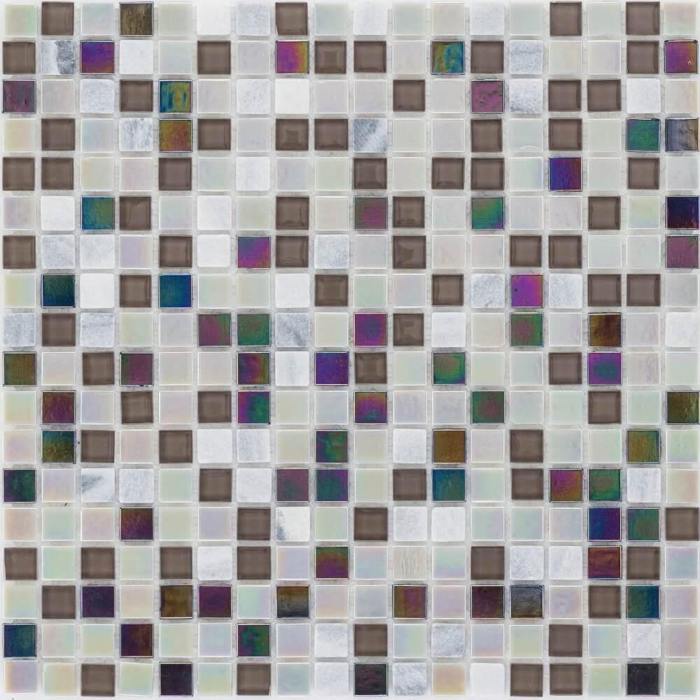 Kombimosaikfliesen Stone Black Grey - Glasmix Perlmutt Glänzend für die Wand 30 x 30 cm - Interio