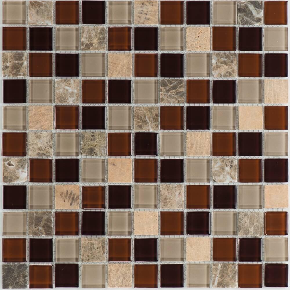 Kombimosaikfliesen Galicia - Marron - Yellowstone - Glas Brown Mix Glänzend für die Wand 30 x 30 cm - Interio