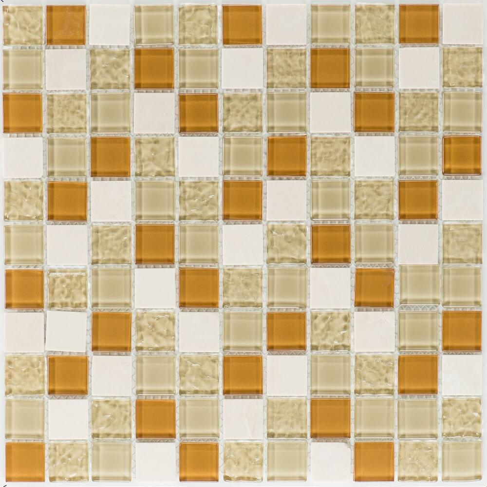 Kombimosaikfliesen Sevilla - Marble Creme - Glas Beige Wave Glänzend für die Wand 30 x 30 cm - Interio
