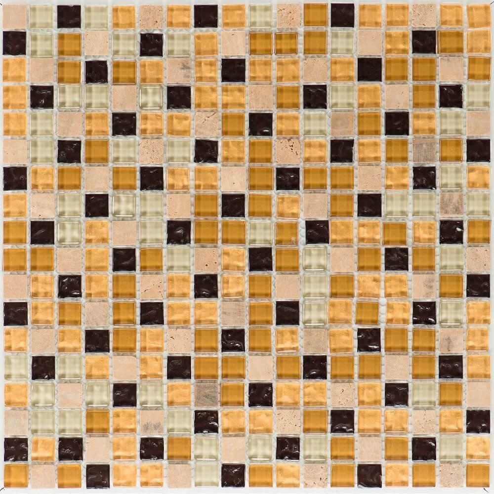 Kombimosaikfliesen Venezia - Yellowstone - Glas Gold Beige Mix Glänzend für die Wand 30 x 30 cm - Interio