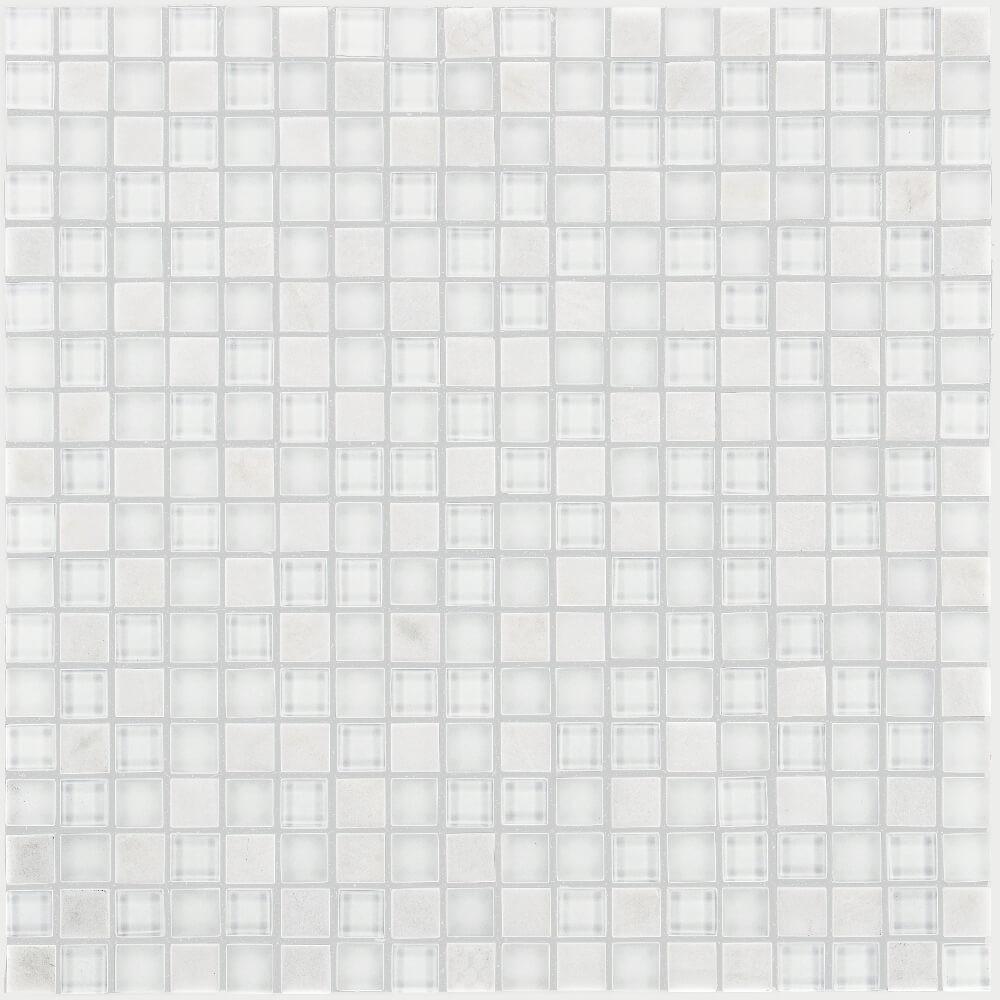 Kombimosaikfliesen Smart White Selbsklebend Glänzend für die Wand 30 x 30 cm - Interio