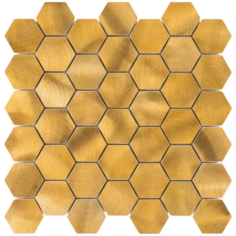 Metallmosaikfliesen Gold Hexagon Glänzend für die Wand 30 x 30 cm - Interio