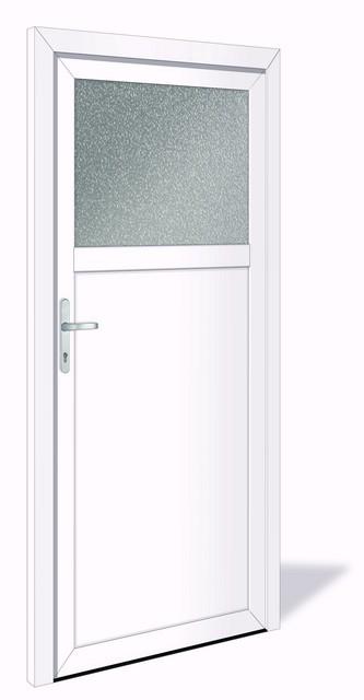 NET 1019 Kunststoff Nebeneingangstür mit Glasausschnitt & 1 fach Verriegelung VORZUGSMAß - Interio