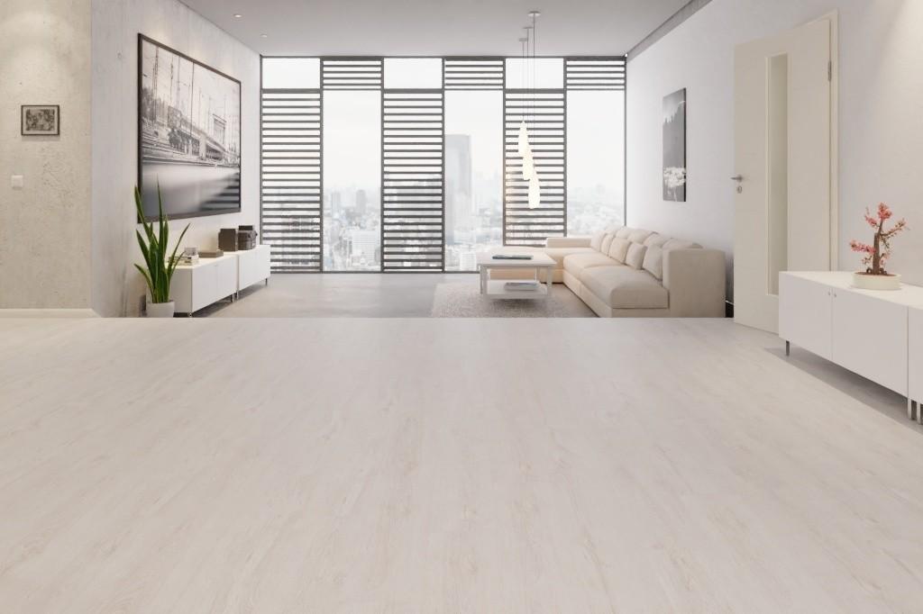 Eiche Weiss Landhausdiele Laminat Superior Standard D2951  - Swiss Krono Milieu Penthouse