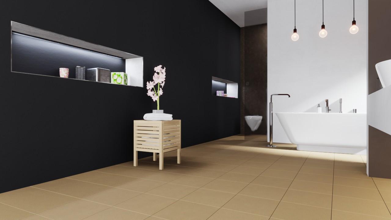 Relationsbild Boden mit Pflanze und Hocker von Bodenfliesen Beige Matt Shooting Star 30,5 x 30,5 cm Feinsteinzeug - Interio
