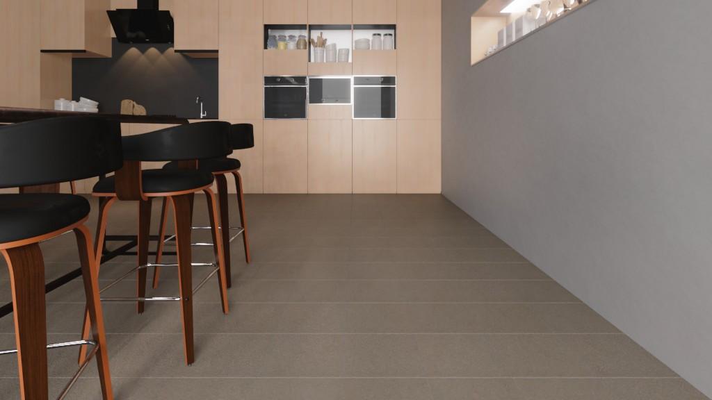 Milieubild Detailansicht Wohnküche mit Sitzgruppe mit Bodenfliesen Grey Matt Shooting Star 30,5 x 30,5 cm Feinsteinzeug - Interio