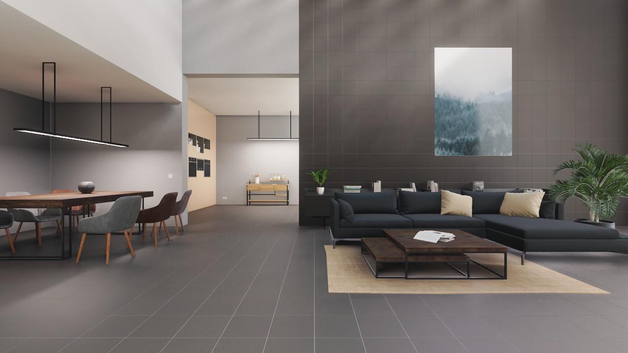 Milieubild Detailansicht Wohnküche mit Sofa mit Boden- und Wandfliesen Graphite Matt Shooting Star 30,5 x 30,5 cm Feinsteinzeug - Interio