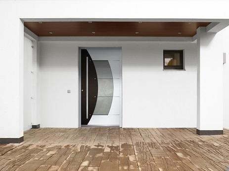 rosa aluminium haust r mit glasausschnitt interio. Black Bedroom Furniture Sets. Home Design Ideas