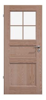 Massivholz-Landhaustür<br> 2 Holz- und eine Glasfüllung mit Sprossen<br>in Esche / Ton