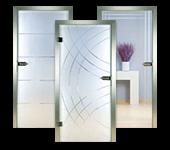 Ganzglas-Innentüren, Rillenschliff-Design