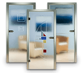 Ganzglas-Innentüren, Schmelz-Glastüren