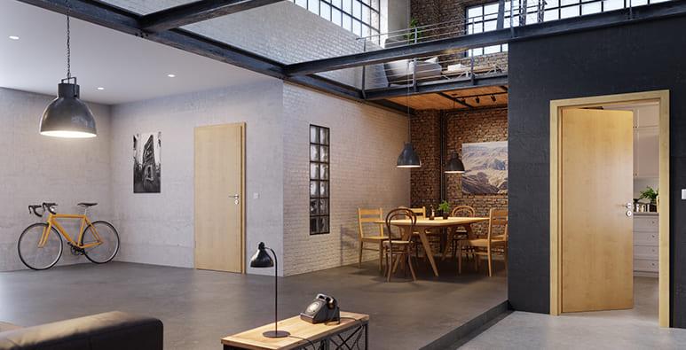 Wohnzimmer mit CPL Zimmertür in Ahorn Rustikal von Westag & Getalit