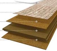 Mehrschichtiger Aufbau von Korkboden mit Corktech