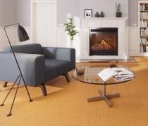 Korkboden in Korkoptik im Wohnzimmer mit Kamin